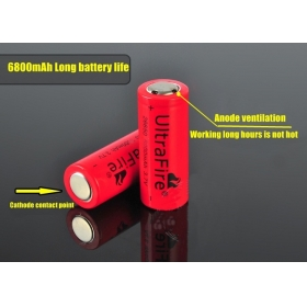 UltraFire High performance 26650 6800mAh 3.7V Rechargeable Li-ion Battery For 26650 flashlight torch (2 pcs)