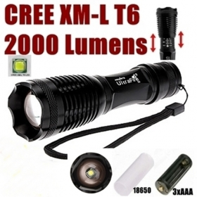 UltraFire E007 CREE XM-L T6 2000Lumens 5 Mode Zoom LED Flashlight Torch For 3 x AAA or 1 x 18650