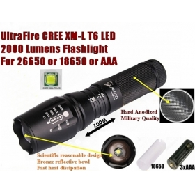 UltraFire E26 Hard anodized CREE XM-L T6 2000Lumens 5-Mode Zoomable LED CREE Flashlight T6 Torch For 26650 or 18650 or 3 x AAA Battery