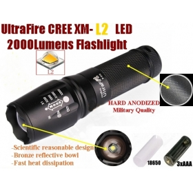 UltraFire E26 Hard anodized Zoomable CREE XM-L2 2000Lumens 5-Mode CREE LED Flashlight Torch light For 26650 or 18650 or 3 x AAA Battery