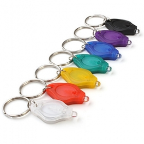 Multicolored Rainbow Popular White Light 22000mcd LED Keychain Flashlights portable (7-Pack)
