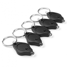Popular White Light 22000mcd portable mini LED Keychain Flashlight Black(5-pack)
