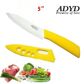 "ADYD 5"" Ceramic Knives Eco-friendly health Zirconia kitchen Fruits Ceramic Knives for Modern Kitchen -yellow"