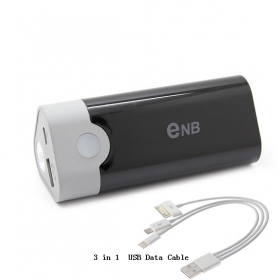 ENB NEW SMART USB Emergency Charger Power Bank w/ Q5 LED flashlight for iPhone 5/4S/ Samsung/ Nokia/ Blackberry With 3 in 1 Data Cable