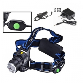 Alone Fire HP88 Headlamp Cree XM-L T6 LED 2000LM Zoom led Head lamp for 1/2 x18650 + AC Charger/Car charger