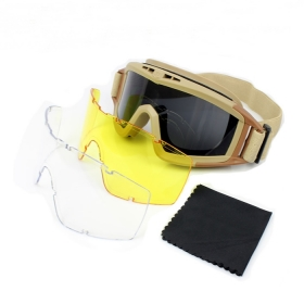 Tactical Exercise Goggle,Tactical Airsoft Goggles, Men Frame Shooting Eyewear Windproof Glasses with 3pcs lens -Mud color