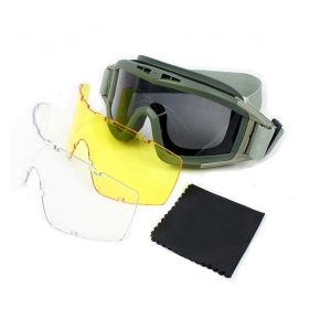 Goggle Tactical Exercise Tactical Airsoft Goggles Men Frame Shooting Eyewear Windproof Glasses with 3pcs lens -Army green