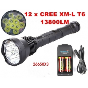13800lm Super Powerful 12x CREE T6 LED Flashlight Torch+3*26650+1*Charger-black