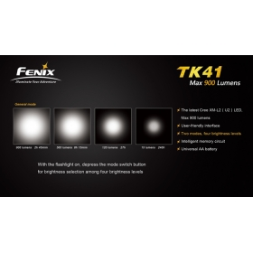 Fenix TK41 Cree XM-L LED 900LM 6 Mode Flashlight Torch FREE Cree LED flashlight waterproof torch