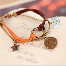 Twelve constellation bracelet restoring ancient way Colorful bracelets bangles Leather Bracelet suede leather rope Women Jewelry