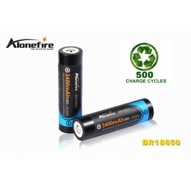 AloneFire BR18650 Newly Designed 18650 3400mAh 3.7v Rechargeable Li-ion Battery -2pc