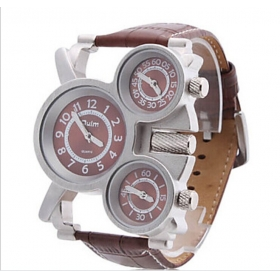 1PC Oulm men multifunctional thermometer digital to analog quartz watch more time zone - 1167