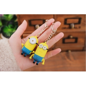 Cute Minion LED Keychain Key Chain Ring Flashlight Torch Sound Toy Promotion Novelty Gift Lover children christmas gift-1PC