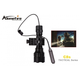 AloneFire C8s Tactical Series CREE XM-L2 LED 1/3/5 mode Professional 3 color lens tactical flashlight torch light for 1x18650