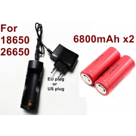 Intelligent Multipurpose 18650/26650 Universal charger with 2x26650 6800mAh High performance Rechargeable batteries