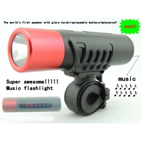 X7 Waterproof CREE LED Bike Light Bicycle Lamp + Flashlight Torch + Mini Sport Speaker MP3 Player FM Radio + Battery Charger