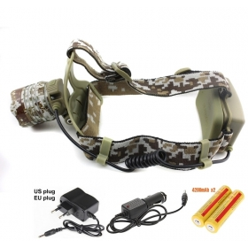 NEW! AloneFire HP07 Camouflage Headlight Cree XM-L T6 LED 2000LM led Headlamp light with 2 x18650 rechargeable battery/AC charger/car charger