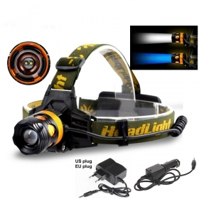 AloneFire HP82 Cree XPE Q5 2 LED Blue white Double light source Zoom led Headlamp Headlight with AC charger/car charger