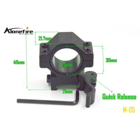 AloneFire M-05 Aluminum Alloy 21mm rail Tactical Mount Holder for 25MM 30mm Flashlight picatinny tactical Quick Release mount ( 1PC )