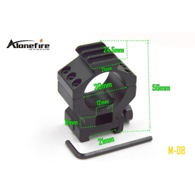 AloneFire M-08 30mm Ring 20mm 21mm Weaver Rail Mount with Adapter For Torch Flashlight Laser Scope Sight Hunting (1PC)