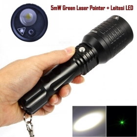 1PC 08-1 5mW Green Laser Pointer + Leitesi LED 3 Mode Magnetic focus LED Flashlight Torch led flashlight torch light