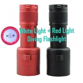 1PC New Underwater Diving Flashlight Torch 4*CREE XP - G2 white light and 2*XP-E red light LED Light Lamp Waterproof Diving 100M