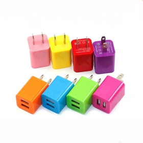 General 5V~1A/2.1A Dual-USB Mobile phone Charger Adapter for iPhone Samsung and Others(Assorted Colors)-USA