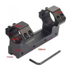"1pc Dual Ring 1""/25.4mm Ring Low Profile 11mm Dovetail Rail Scope Mount Dovetail Rail Top Waver Rail - L48"