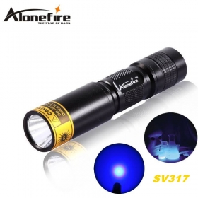 ALONEFIRE SV317 395nm UV flashlight ultraviolet light to detector lamp For 1 * AA / 14500 battery