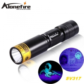 ALONEFIRE SV317 365nm Mini rechargeable UV ultraviolet light detector lamp flashlight For 1 * AA / 14500 battery