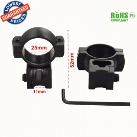 C799 Hunting Rifle 25mm Ring Scope Flashlight Mount Adaptor Clamp With 11mm Weave Picatinny Rail - 1Pair