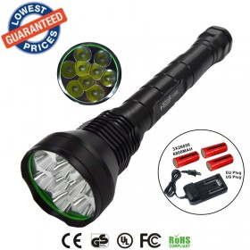 1set AloneFire HF9 flashlight 11000lumen 9x cree xml 9t6 hunting flashlight linterna led 4x26650 battery/charger
