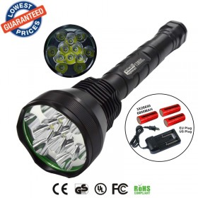 AloneFire HF12 13800 Lumen 12x XM-L 12T6 LED Flashlight tactical 18650 26650 Torch Light Lamp 12T6 linternas With battery / charger