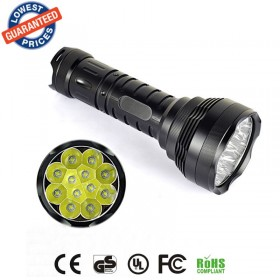 Super bright tactical flashlight 12T6 Flashlight 12x Cree XM-L T6 5-Mode 13000-Lumen Tactical Led Flashlight Lantern