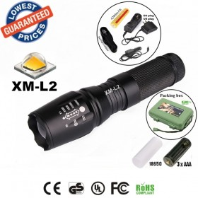 UltraFire E26 CREE XM-L2 2200Lumens Zoomable LED Flashlights Torches lamplights with 18650 rechargeable Battery/charger/holster/box