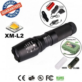 UltraFire E26 CREE XM-L2 led 2200Lumens Zoomable Flashlights Torches lamplights with 26650 Battery rechargeable /charger/holster/box