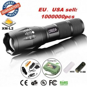 UltraFire E17 CREE XM-L2 2200Lumens Zoomable LED Flashlight Torch light lamp with 18650 Battery/charger/holster