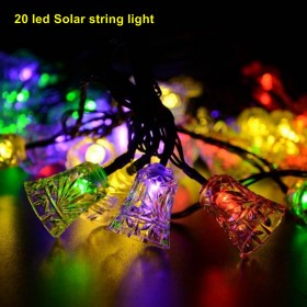 1SET 20 LED Solar Powered LED String Light Ambiance Lighting Solar Fairy String Lights for Outdoor Gardens Homes Christmas Party