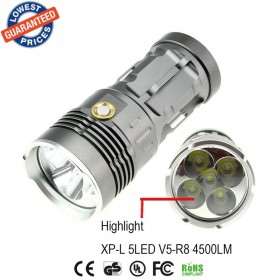 AloneFire Super bright led flashlight V5R8-5 4500Lumens XP-L torch linterna handheld flashlight