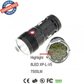 AloneFire super bright torch 7500lumens XP-L V5R8-8 led light waterproof flashlight