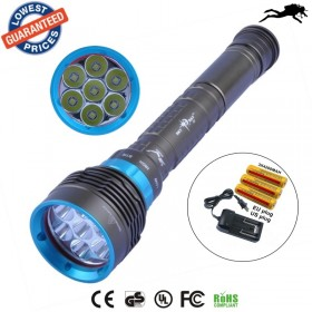 DV07 14000 Lumen 7* XML L2 LED Diving Flashlight Torch 200M Underwater Waterproof LED Flash Light Lantern+ 18650 Battery+ Charger