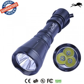 AloneFire DV09 3*CREE XM-L T6 5000LM LED Diving Flashlight Torch Brightness Waterproof 60m White Light LED Torch