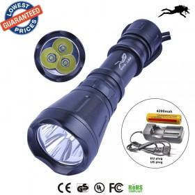 1set AloneFire DV09 Underwater Diving Flashlight Torch XM-L T6 LED Light Lamp Waterproof 5000Lm Super+18650 battery+charger
