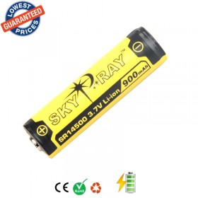 4pcs/lot SKYRAY SR14500 3.7V 900mAh Lithium Li-ion Rechargeable Protected Friendly Durable Battery for Flashlight Device