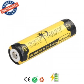 2psc/lot SKYRAY SR18650 3.7V 2400mAh Lithium Li-ion Rechargeable Protected Friendly Durable Battery for Flashlight Device
