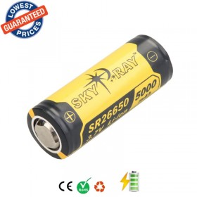 2psc/lot Original SKYRAY SR26650 3.7V 5000mAh Lithium Li-ion Rechargeable Protected led flashlight 26650 battery