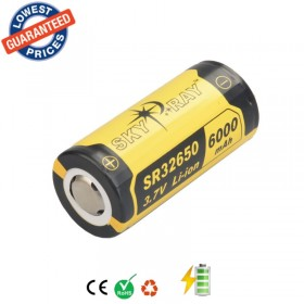 1PC SKYRAY SR32650 3.7V 6000mAh Lithium Li-ion Rechargeable Protected Friendly Durable Battery for Flashlight Device