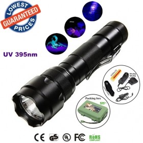 ALONEFIRE 502b 395nm Uv LED Flashlights Ore id Currency Passports Detector UV lamplight torches lamps with Battery and charger