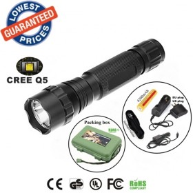 Classic 501B USA EU Hot sell 1/3/5Mode Cree Q5 LED Police tactical hunting Flashlights Torches lamps with 18650 battery charger