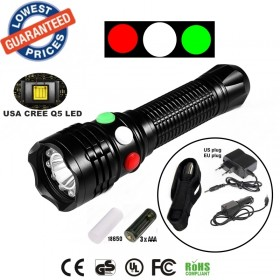 ALONEFIRE RX1-RWG CREE XP-E Q5 LED Red White Green Railway Signal lamp Outdoor Rescue flashlight torches with Charger/holster